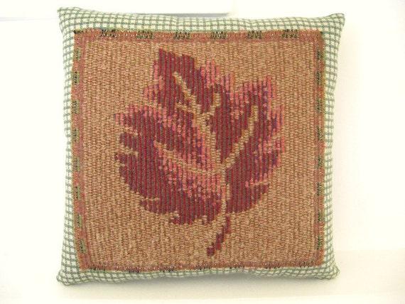 Handmade Pillow LEAF 6.5 x 6.5 In. Cabin Woodland Country Home Decor Prim Primitive CharlotteStyle Folk Art