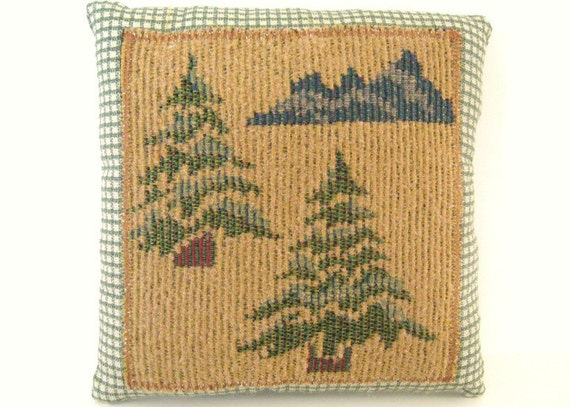 Handmade Pillow TREES and MOUNTAINS  6 x 6 inch Cabin Woodland Country Home Decor Prim Primitive CharlotteStyle Folk Art