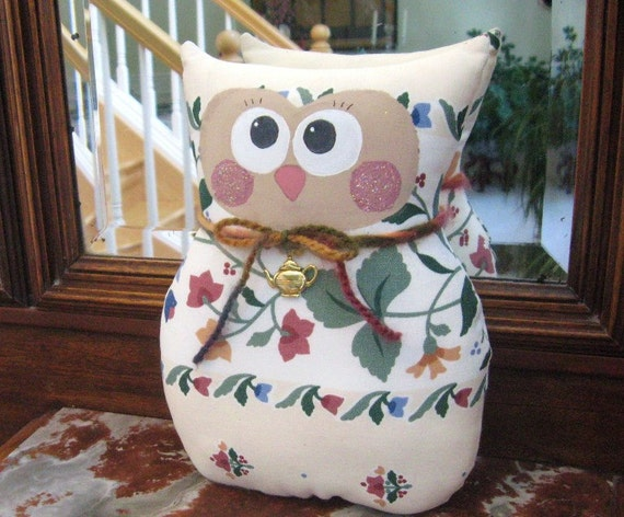 "OWL Pillow Doll Soft Sculpture Owl Cloth Doll  9"" FLORAL Prim Primitive Handmade CharlotteStyle Decorative Folk Art"