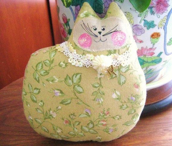 Cat Pillow Doll Cloth Doll 7 inch Cat GOLDEN with Brass BUTTERFLY Primitive Soft Sculpture Handmade CharlotteStyle Decorative Folk Art