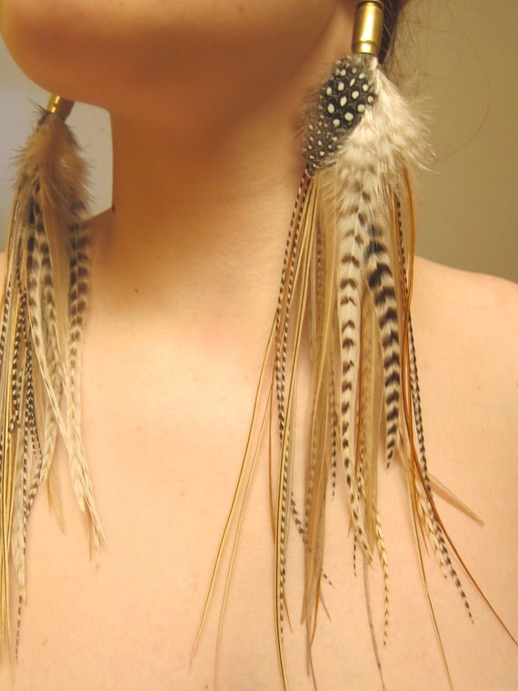 SALE - FREE SHIPPING - Whiter Shade of Pale - Bullet Feather Earrings - Ready to Ship - grizzly, white, feathers