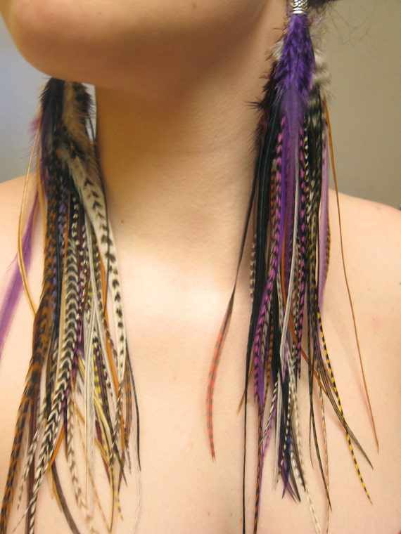 Natural Long Purple Feather Earrings - Purple Rain - Only Pair & Ready to Ship
