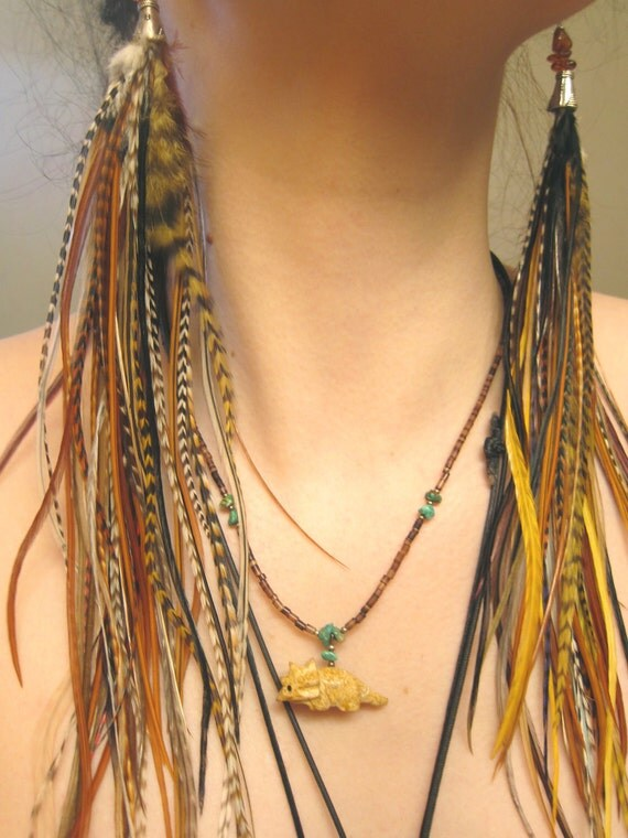 OOAK - Natural Long Grizzly Feather Earrings -  Amber Baby - Only Pair & Ready to Ship
