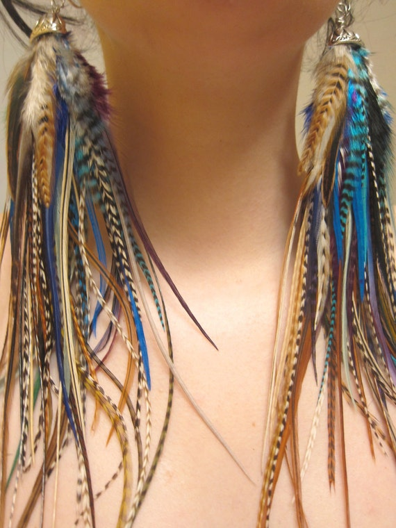 Dreamcatcher - OOAK - Extra Long Natural Blue Feather Earrings - Only Pair & Ready to Ship