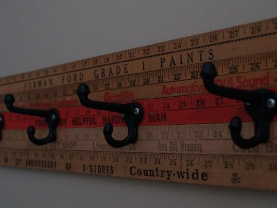 Vintage Yardstick Coat Rack - 30 inches