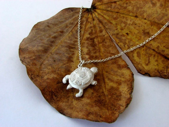 Turtle Silver ~ Solid 925 Sterling Silver ~ Pendant with Diamond