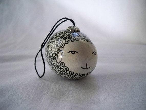White Sheep Eggshell Ornament Pysanky