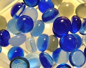 Kiln Formed Transparent Shades of Blue Glass Bubbles 40 Pieces (B199)