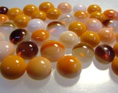Kiln Formed Opaque Orange and Brown Streaked Glass Bubbles 45 Pieces (B247)