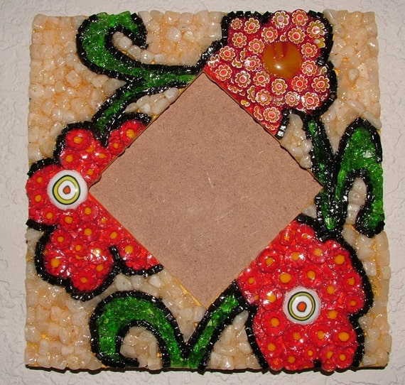 Red and Yellow Millefiori Flower Frame