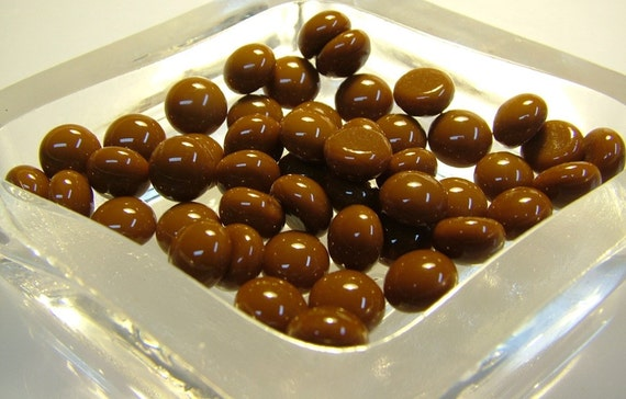 Kiln Formed Opaque Brown Glass Bubbles 45 Pieces (B207)