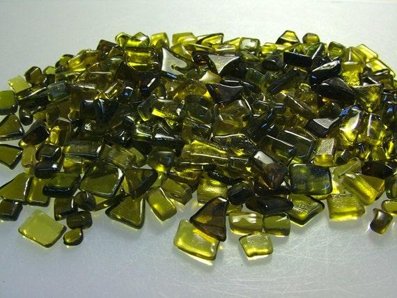 Kiln Formed Transparent Greens Tessera 375 Pieces (B105)