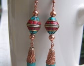 Turquoise, Coral, Copper, Tibetan Dangle Earrings