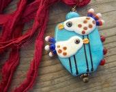 Artisan Lampwork Bird Silk Ribbon Pendant Necklace