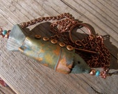 Polymer Clay Whimsical Copper Fish Necklace