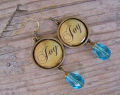 Brass and Crystal Inspiration Blue Earrings Joy