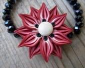 Beautiful Polymer Clay Flower Crystal Stretch Bracelet