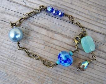 Brass Lampwork Chalcedony Crystal Pearl Bracelet
