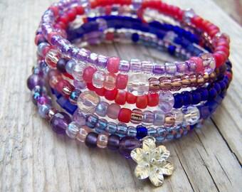 Hill Tribe Silver Pink Purple Memory Wire Bracelet