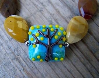 Lampwork Mookaite Lemon Tree Stretch Bracelet Yoga