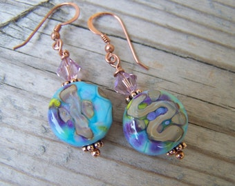 Artisan Lampwork Copper and Swarovski Earrings