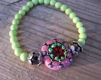 Lampwork Green Turquoise Stretch Bracelet