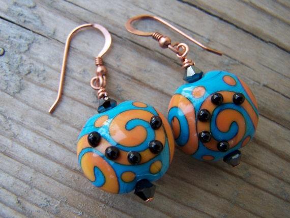 Southwest Style Lampwork Copper Swarovski Artisan Earrings