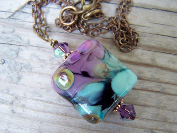 Lampwork Swarovski Brass Purple Blue Necklace