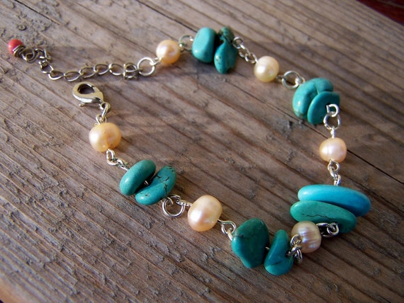 Turquoise Freshwater Pearl Silver Bracelet