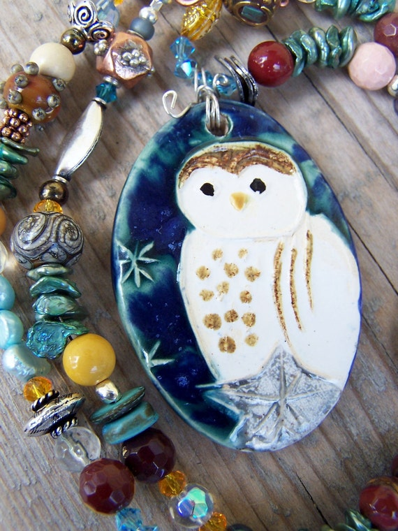 Pottery Crystal Gemstone Pearl Copper Silver Owl Necklace