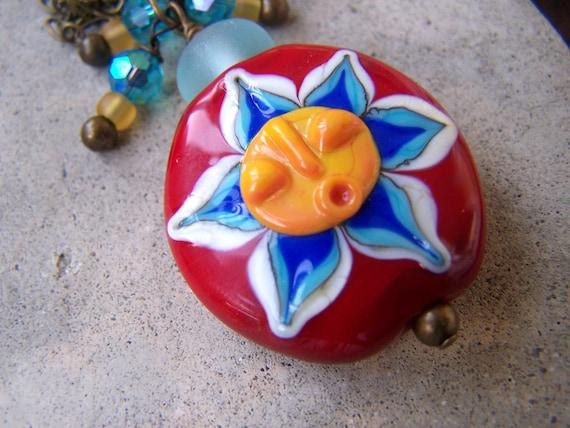 Lampwork Sun Focal Bead Brass Necklace