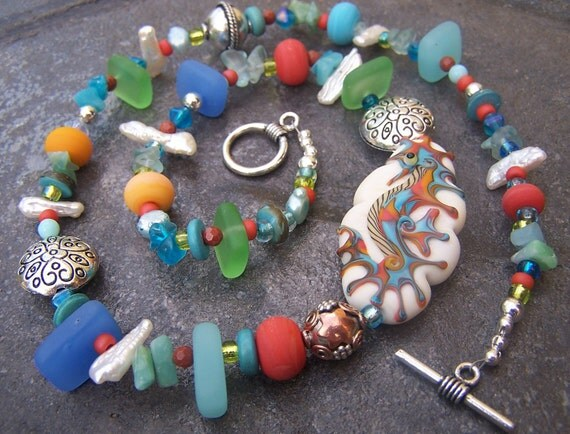OOAK Sea Horse and Pearl Lampwork Necklace