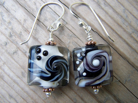 Black and White Silver Artisan Swirl Lampwork Earrings