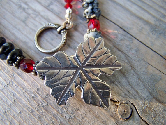 Hill Tribe Silver Obsidian Czech Glass Leaf Necklace