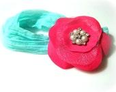 Hot Pink Flower on Teal Nylon Headband