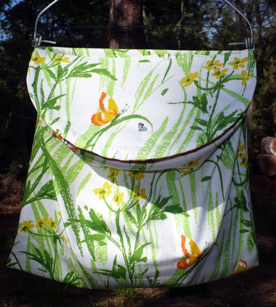 70's Window Curtain Clothespin Bag