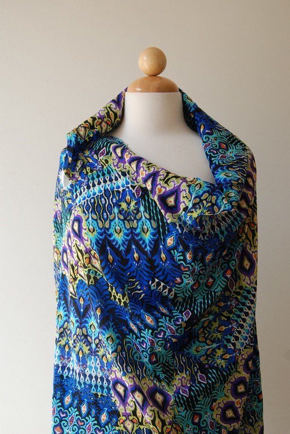 """S A L E:  Jungle ornament bright printed fabric, 40"""" x 56"""" wide"""