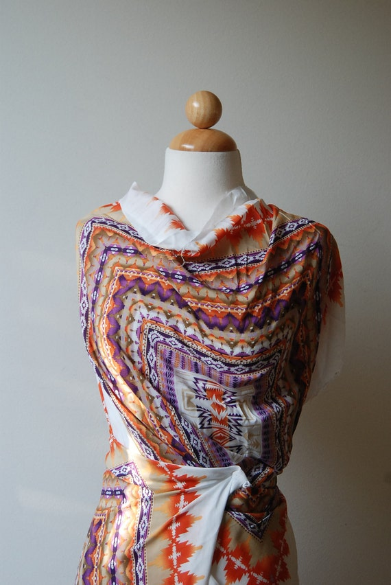 "S A L E: Mock Scarf Pattern fabric, amethyst and orange colors - approx 4.5 yards at  57"" wide"