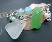 Sea glass shell jewelry, shells charms agates beads beach necklace, spring jewelry