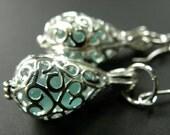 Sea Glass Locket Earrings, Silver Filigree Teardrop Earrings on Silver, Hawaiian Aqua Sea Glass Jewelry, Sea Glass Jewelry, Beach Style