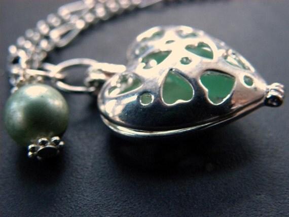 Sea glass heart locket, colorful sea glass, choice of color