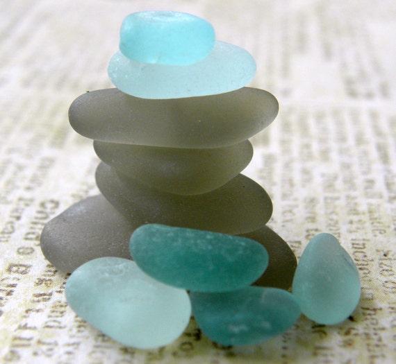 Rare Grey and Aqua Sea Glass Collection,  Jewelry Supplies, Pendants, Charms10 pcs