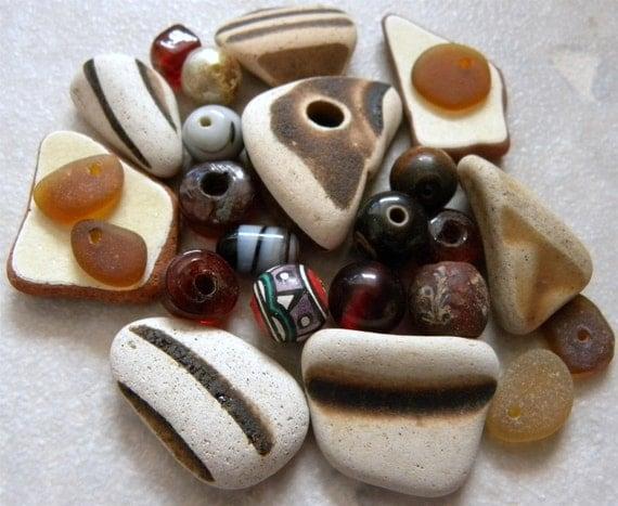 Scottish Sea Pottery, Sea Glass, Beads, Jewelry Supplies, Matched Set Rustic