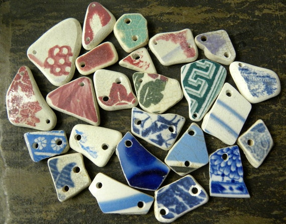 Drilled Scottish sea pottery for jewelry supplies, 24 small pcs, mixed colors