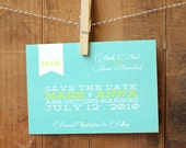 Wedding Save the Date - bright, bold, fun, colorful invitation, customized