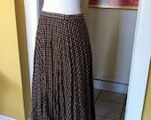 vintage 1960's Peggy Olsen plaid tan and brown wool pleated skirt medium