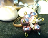 Pink Pearl Cluster Adjustable Ring