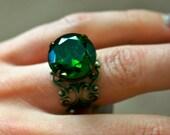 Clearance Sale - Vintage Green Tourmaline Glass Ring, Oxidized Brass, Adjustable Band, Dark Green, Filigree Band