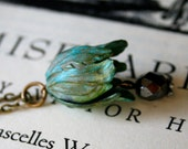 Large Verdigris Flower Leaf Necklace, Patina, Long Necklace, Gray Glass Bead, Vintage Inspired, Green Jewelry
