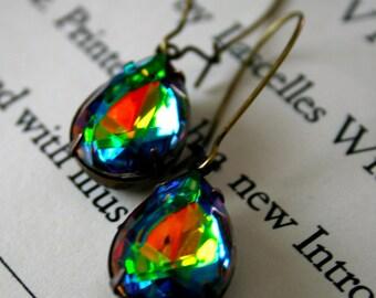 CLEARANCE - Large Vitrail Glass Jewels, Oxidized Brass, Kidney Ear Wires, Rainbow, Watermelon Jewels